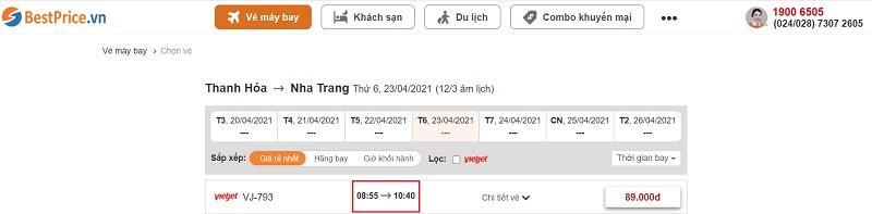 Đặt vé máy bay giá rẻ Thanh Hóa đi Nha Trang tại website bestprice.vn