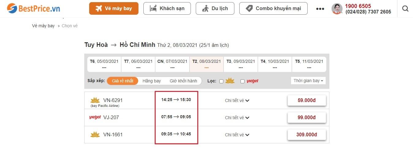 Đặt vé máy bay từ Tuy Hòa đến Hồ Chí Minh