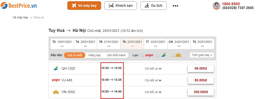 Đặt vé máy bay Tuy Hòa đi Hà Nội tại bestprice.vn