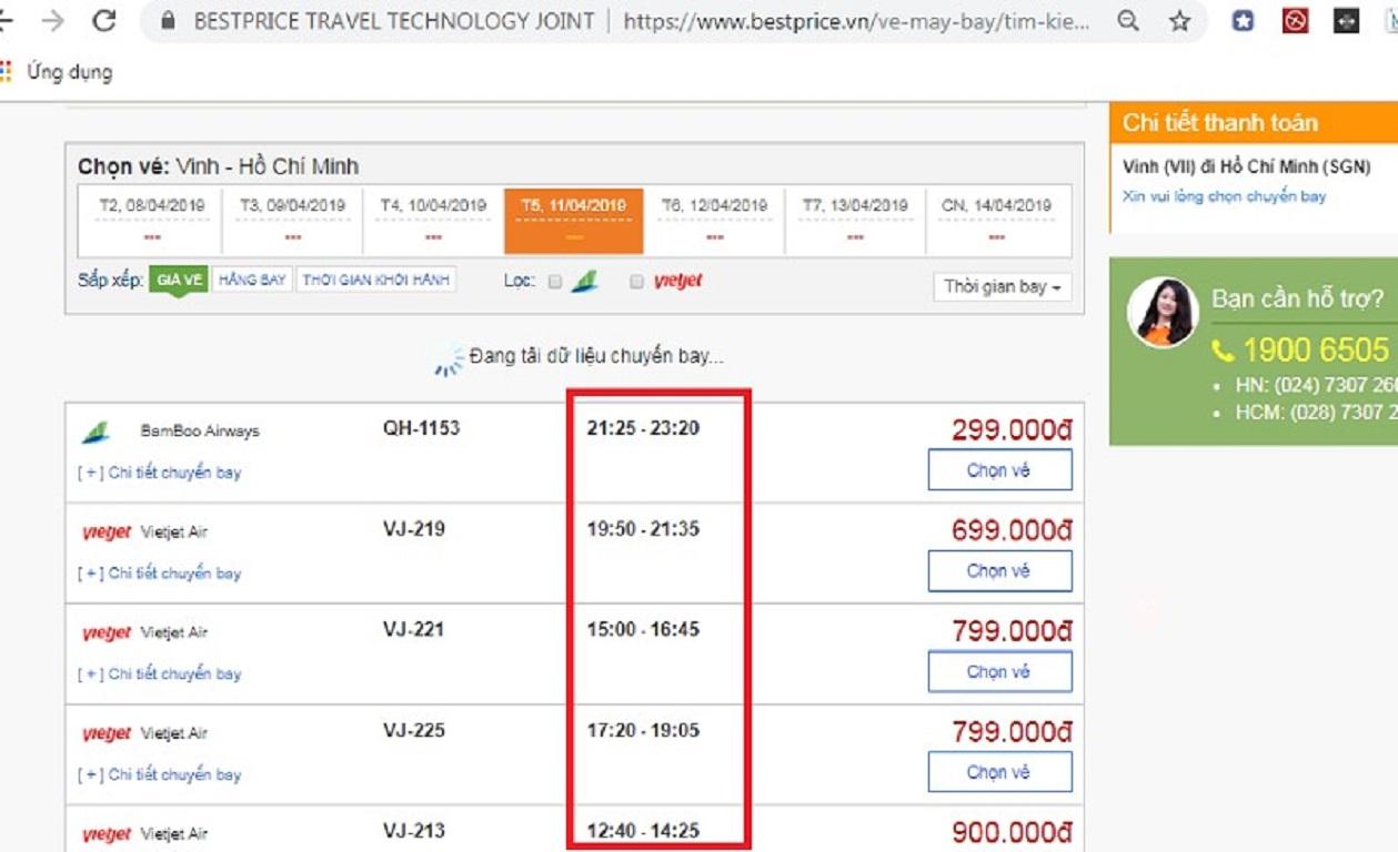 Đặt vé máy bay từ Vinh đi Hồ Chí Minh tại website bestprice.vn