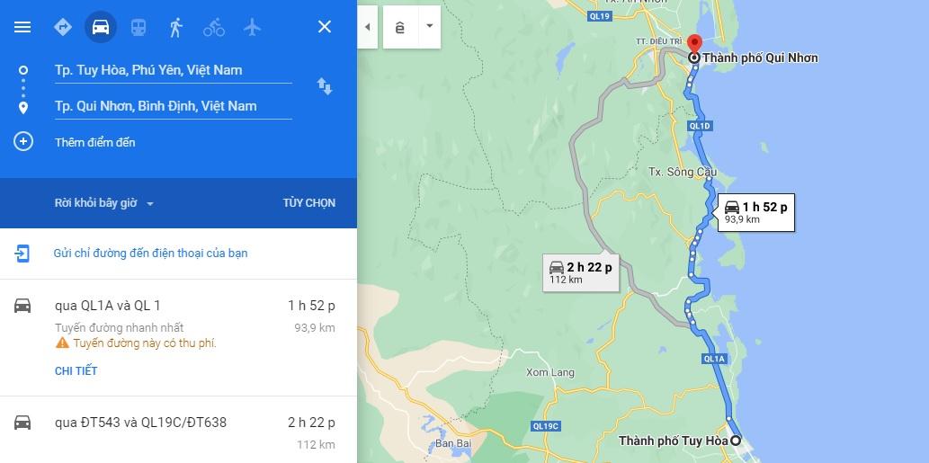 Tuy Hòa cách Quy Nhơn khoảng 100km