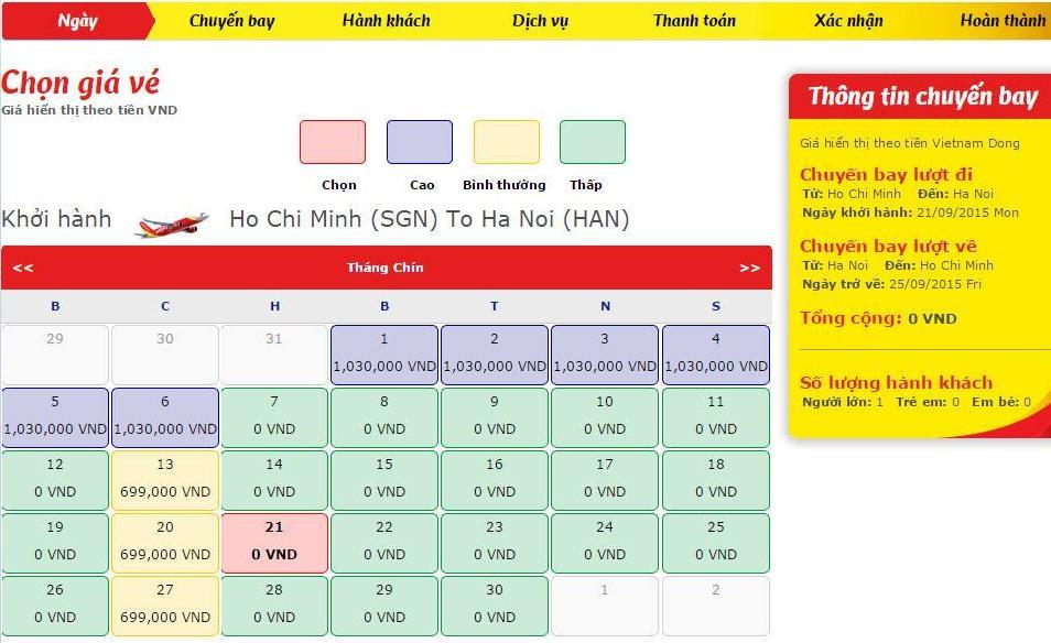 Vé máy bay 0 đồng hiển thị trên website Vietjet Air