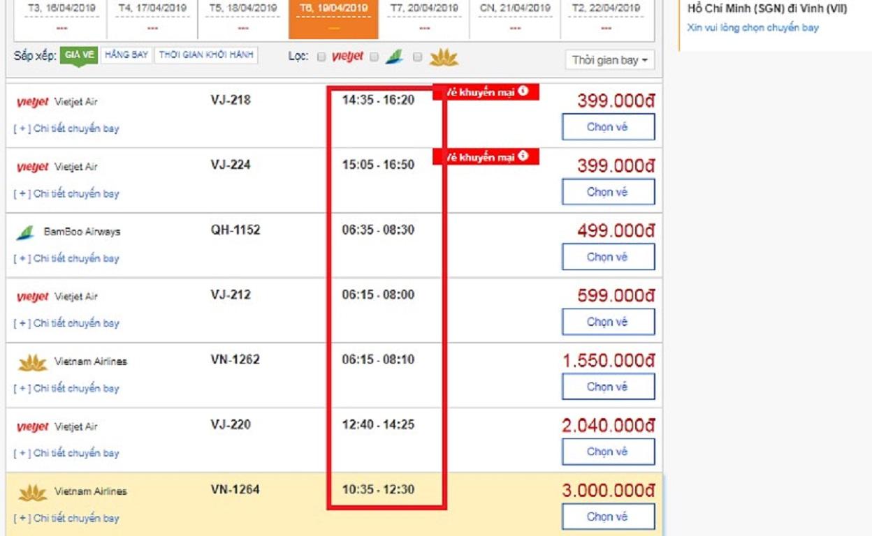 Thời gian bay từ Hồ Chí Minh đi Vinh