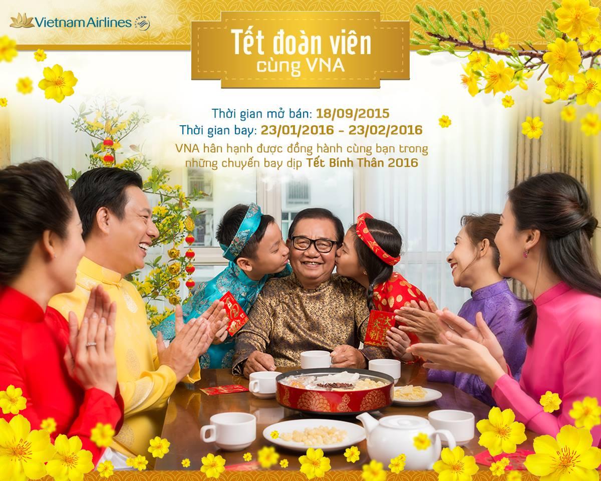 Vietnam Airlines mở bán vé máy bay tết 2016 trên tát cả các đường bay nội địa