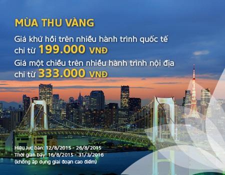 """Vietnam Airlines mở bán vé khuyến mại với chương trình """"Mùa thu vàng"""""""