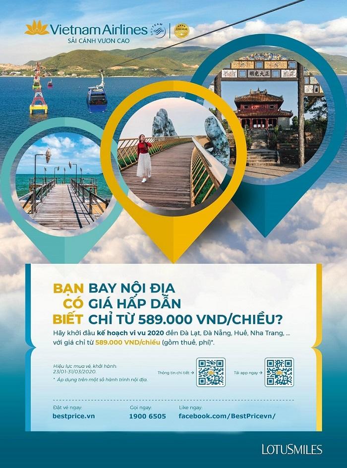 Khuyến mãi đặt vé máy bay Vietnam Airlines quý 1/2020