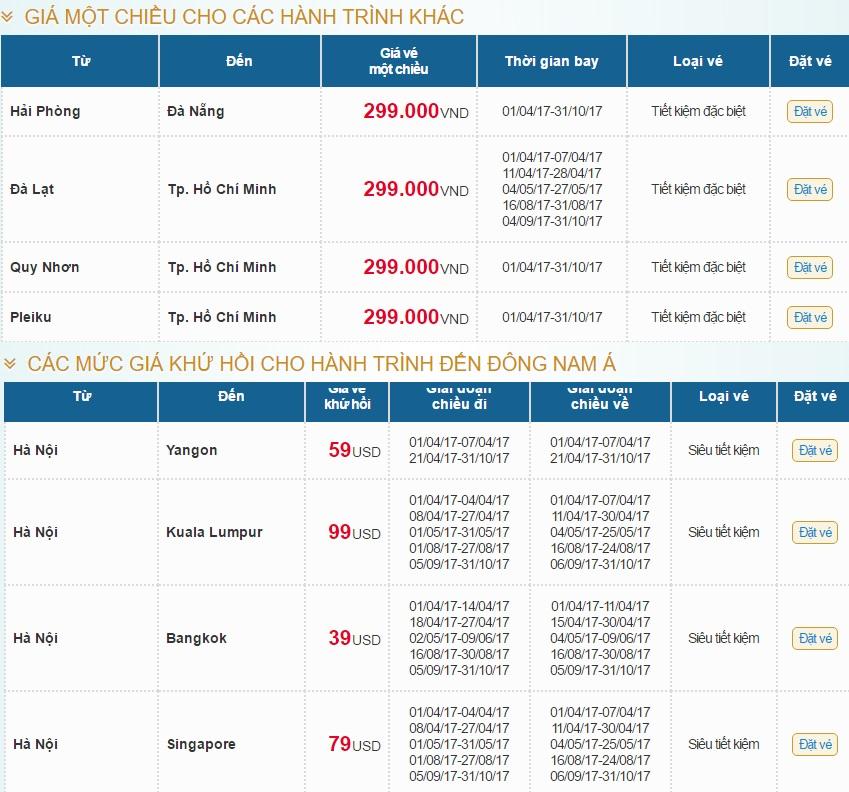 """Giá vé máy bay và một số chặng nổi bật trong chương trình """" Chào hè 2017"""""""