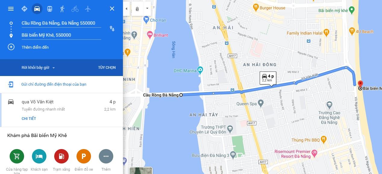 Cách di chuyển đến bãi biển Mỹ Khê