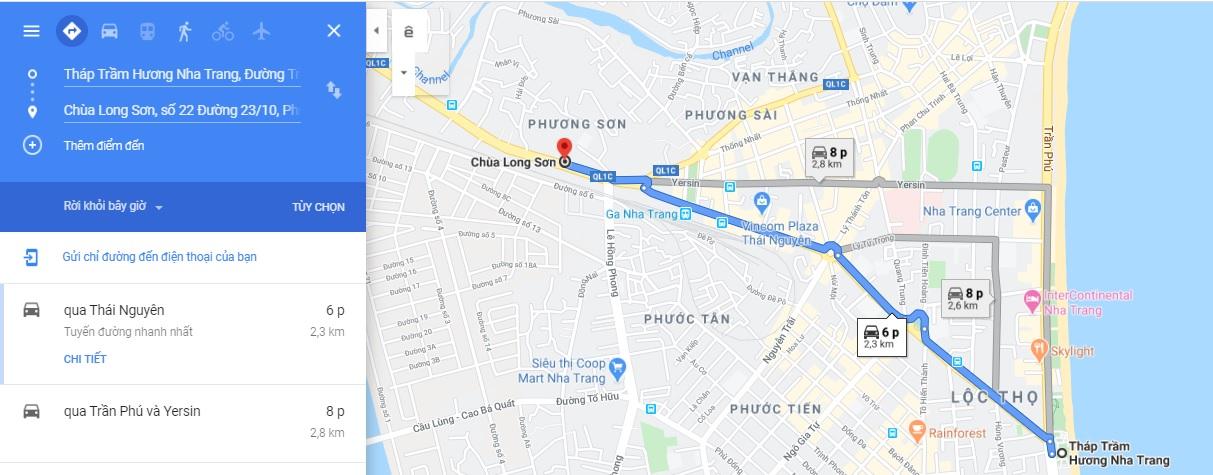 Bản đồ di chuyển đến Chùa Long Sơn