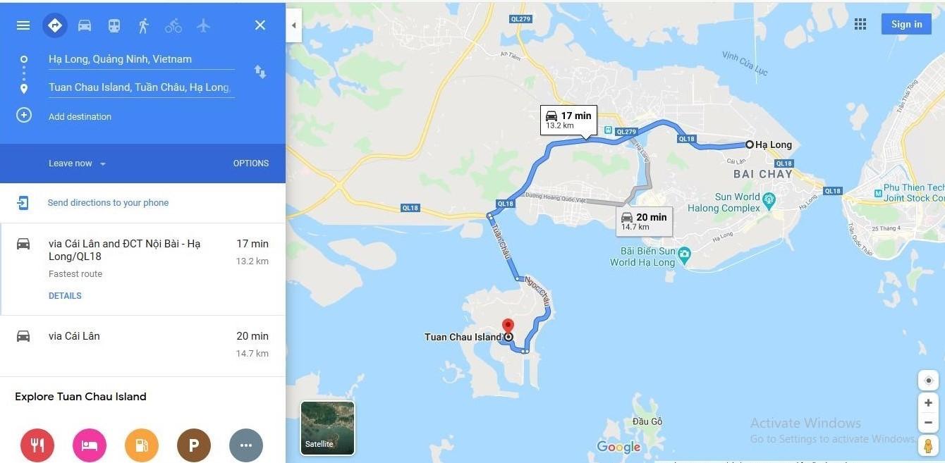 Di chuyển từ trung tâm thành phố Hạ Long đến đảo Tuần Châu