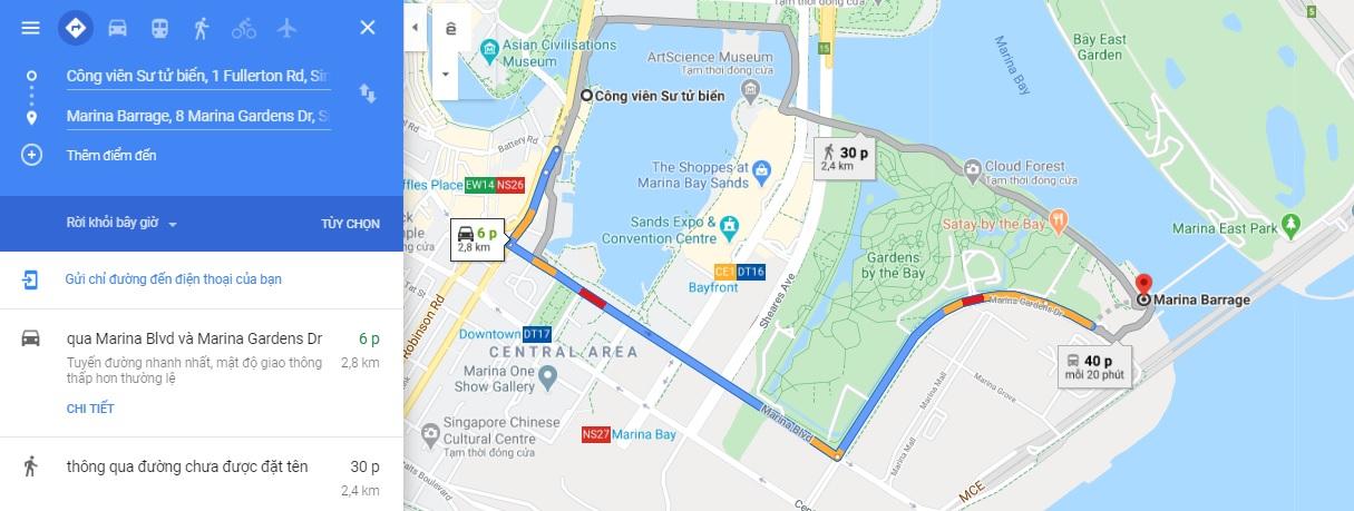 Bản đồ di chuyển đến đập nước Marina