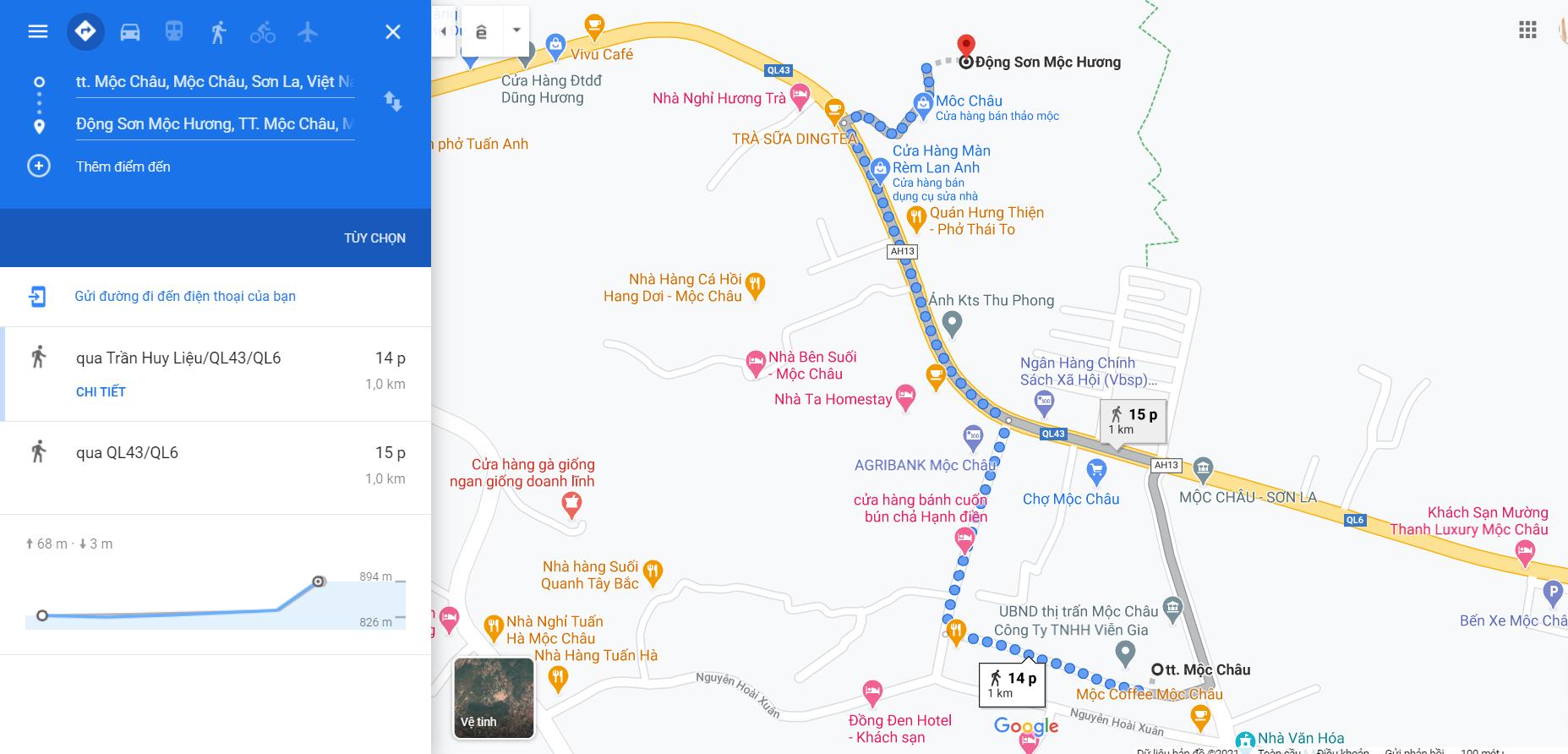 Quãng đường di chuyển từ Thị trấn Mộc Châu tới Động Sơn Mộc Hương