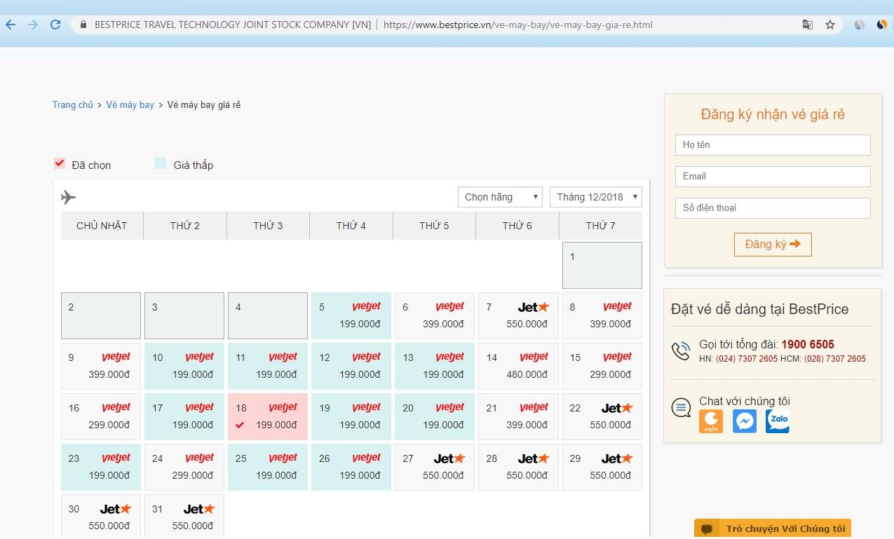 Chức năng săn vé máy bay giá rẻ trong tháng của BestPrice