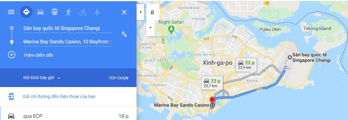 Bản đồ di chuyến đến Marina By Sands
