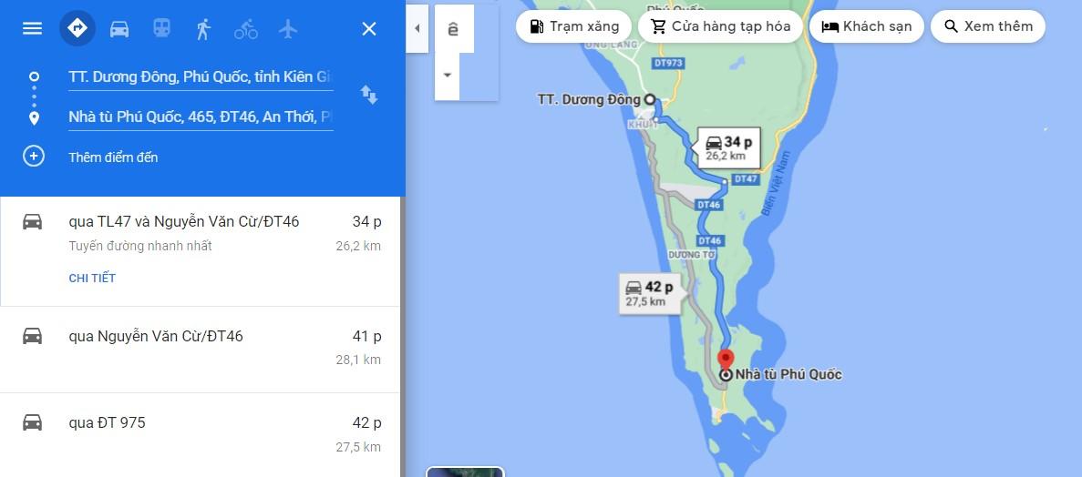 Bản đồ di chuyển đến nhà tù Phú Quốc