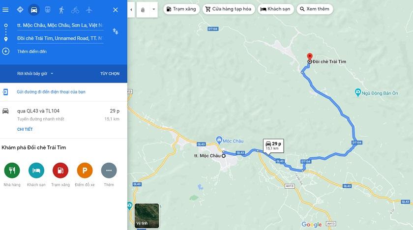 Lộ trình di chuyển đến đồi chè trái tim Đài Loan