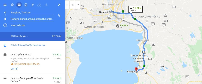 Bản đồ di chuyển từ Bangkok đến Pattaya