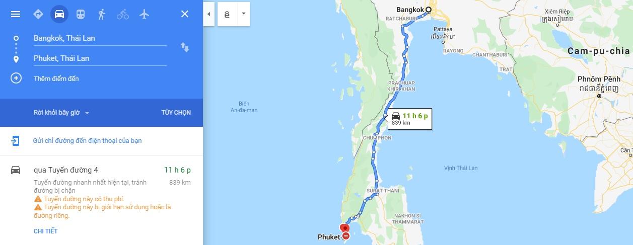 Bản đồ di chuyển từ Bangkok đi Phuket