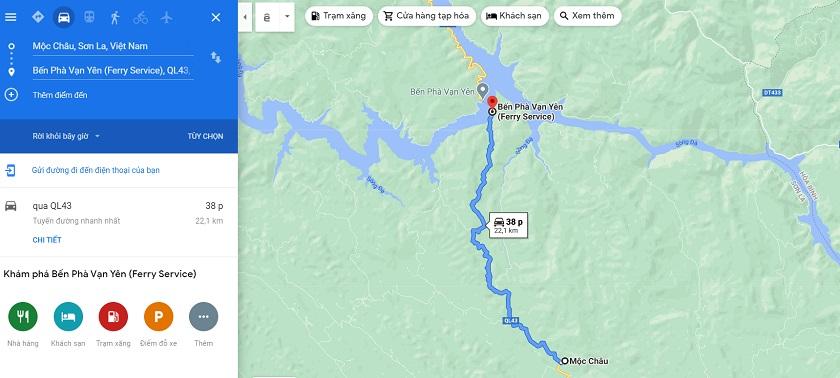 Lộ trình di chuyển tới Bến phà Vạn Yên - nơi bắt đầu khám phá sông Đà