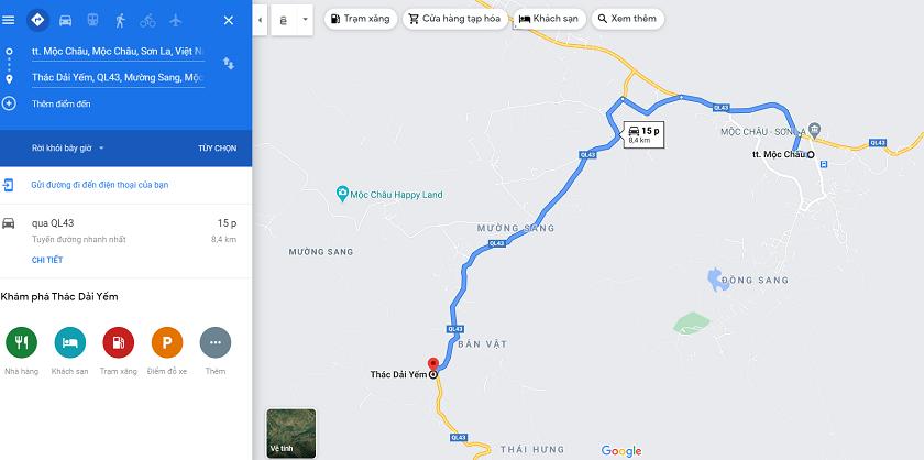 Lộ trình di chuyển tới thác Dải Yếm