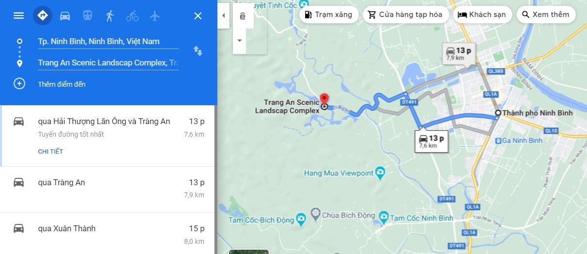 Di chuyển từ thành phố Ninh Bình về Tràng An