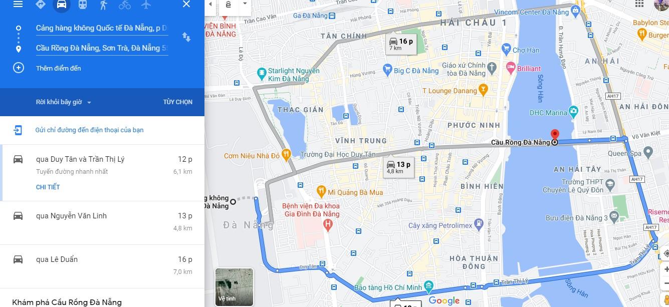 Cách di chuyển đến trung tâm thành phố Đà Nẵng