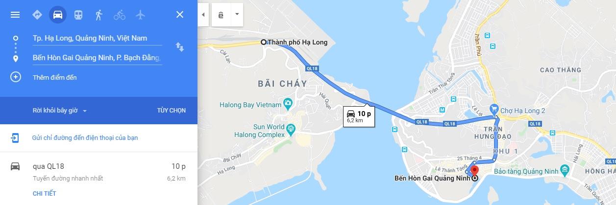 Đường đến bến tàu xuất phát thăm Vịnh Bái Tử Long