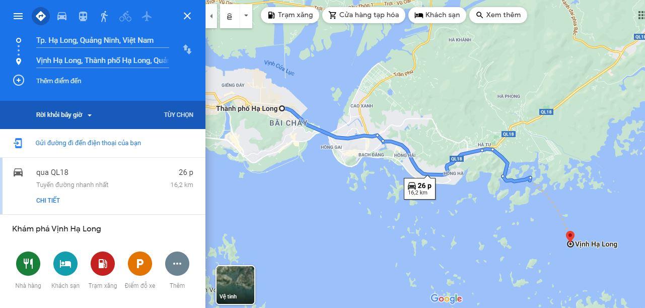 Di chuyển từ trung tâm thành phố Hạ Long đến Vịnh Hạ Long