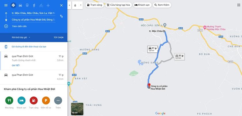 Quãng đường di chuyển từ thị trấn Mộc Châu đến Vườn hoa nhiệt đới Mộc Châu