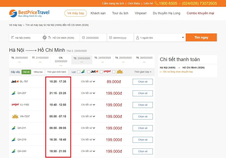 Thời gian bay từ Hà Nội đi Hồ Chí Minh