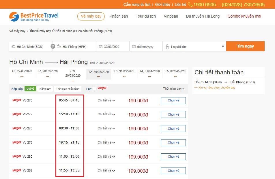Thời gian bay từ Hồ Chí Minh tới Hải Phòng