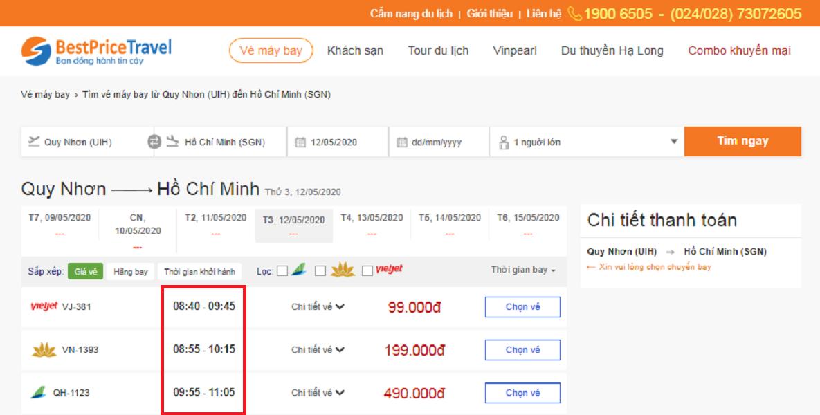 Thời gian bay từ Quy Nhơn đi Hồ Chí Minh