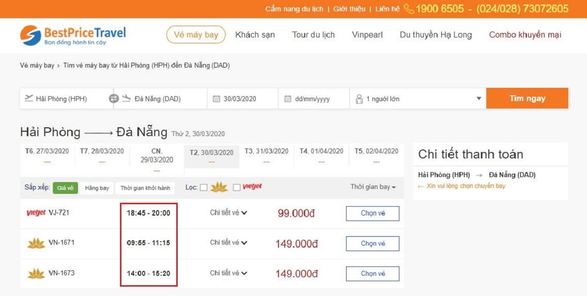 Thời gian bay từ Hải Phòng đi Đà Nẵng