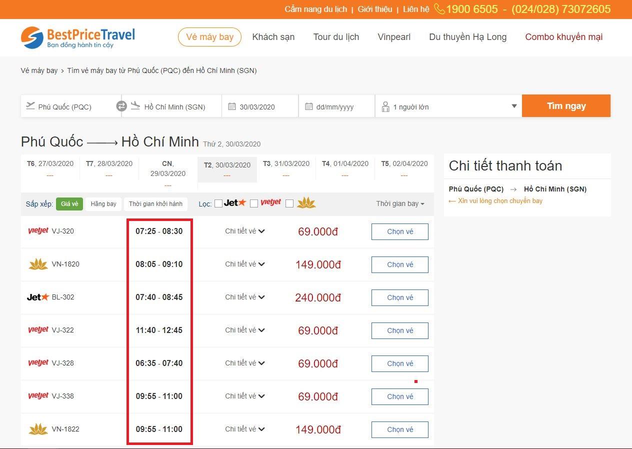 Thời gian bay từ Phú Quốc tới Hồ Chí Minh