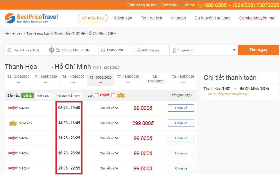Thời gian bay từ Thanh Hóa đến Hồ Chí Minh