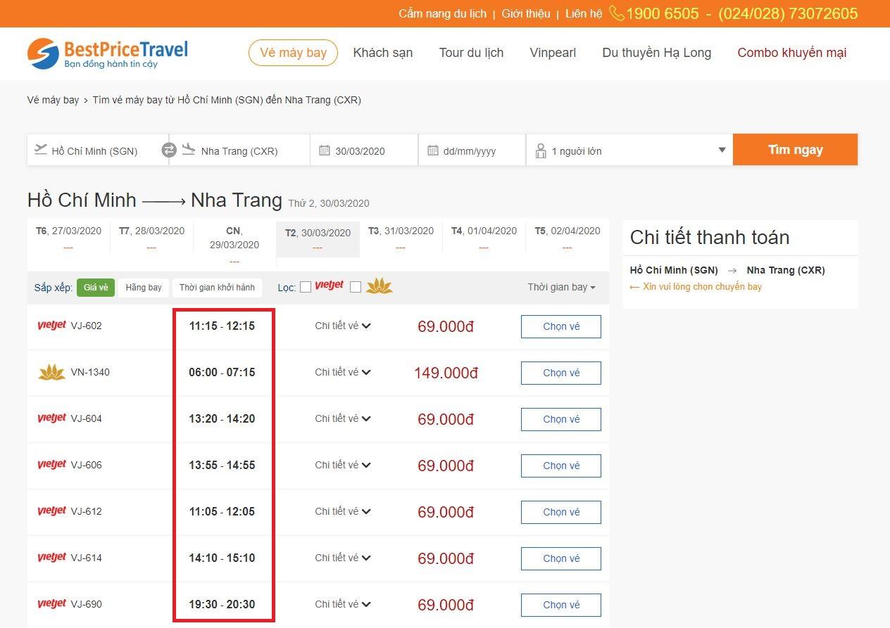 Thời gian bay từ Hồ Chí Minh đi Nha Trang