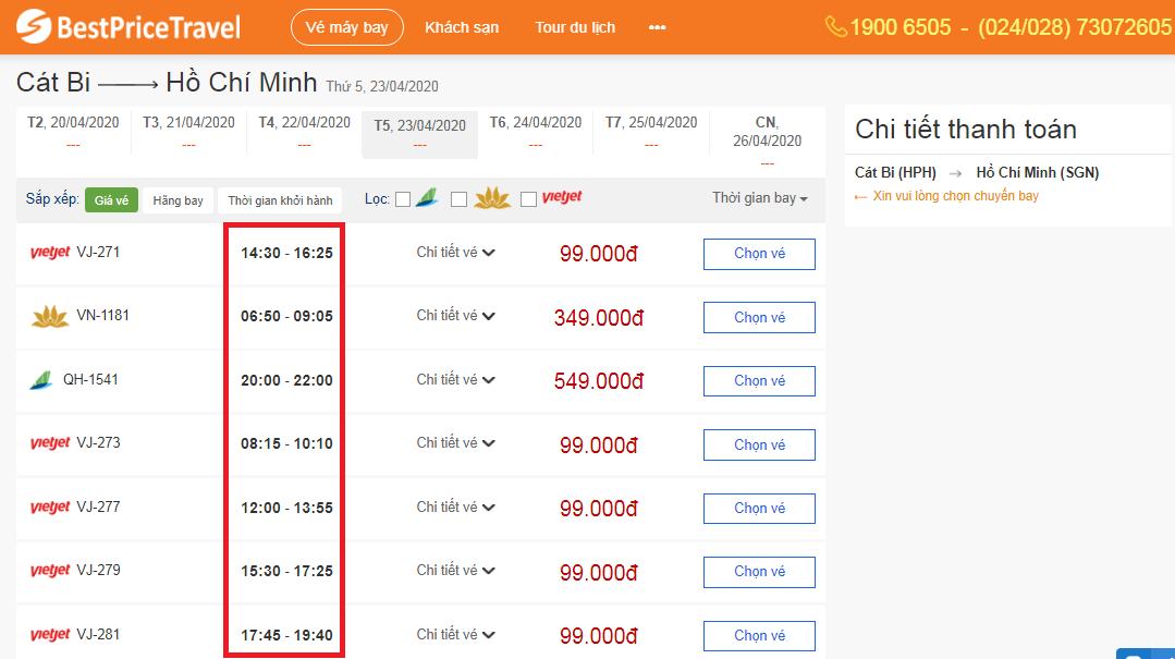 Thời gian bay từ Hải Phòng đến Hồ Chí Minh
