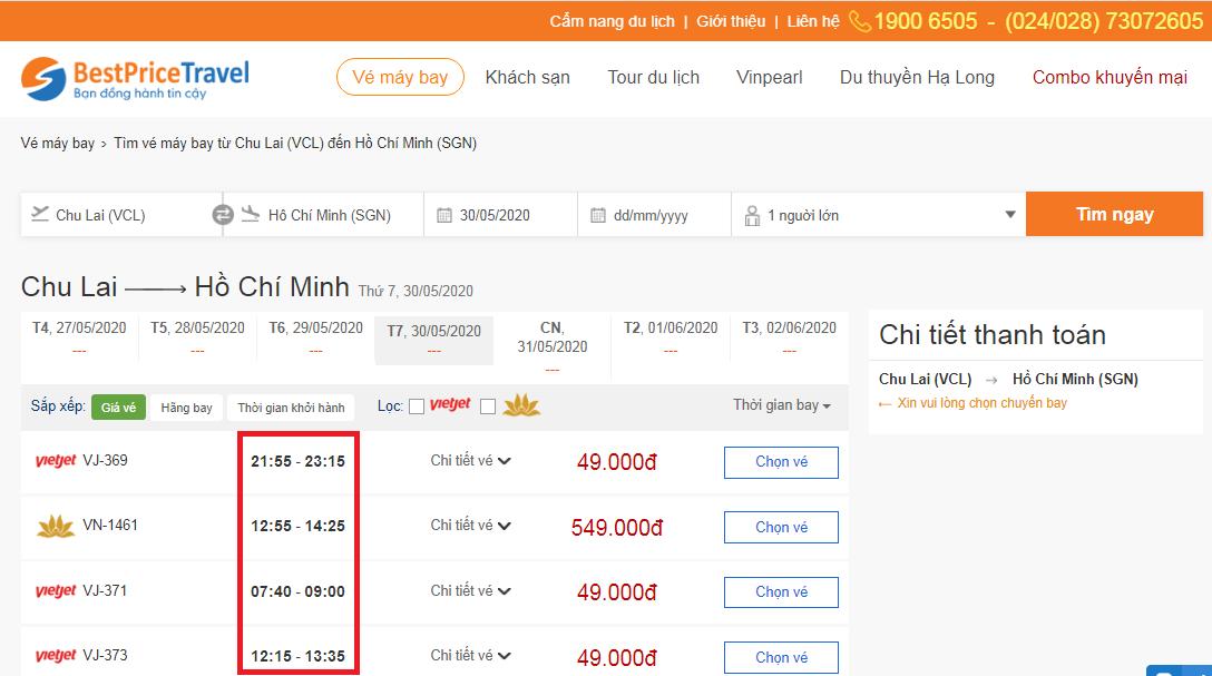 Thời gian bay từ Chu Lai đi Hồ Chí Minh