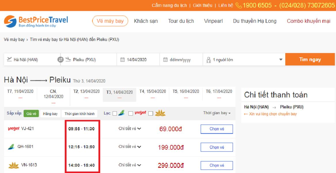 Thời gian bay từ Hà Nội đi Pleiku