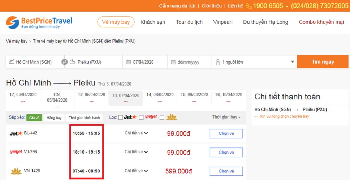 Thời gian bay từ Hồ Chí Minh đi Pleiku