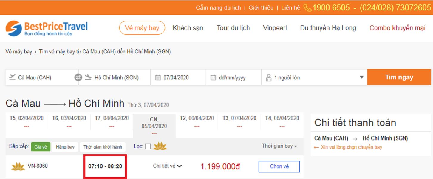 Thời gian bay từ Cà Mau đến Hồ Chí Minh