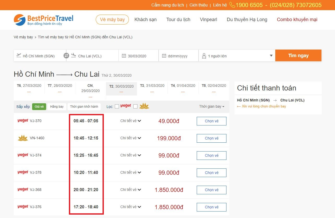 Thời gian bay từ Hồ Chí Minh đi Chu Lai