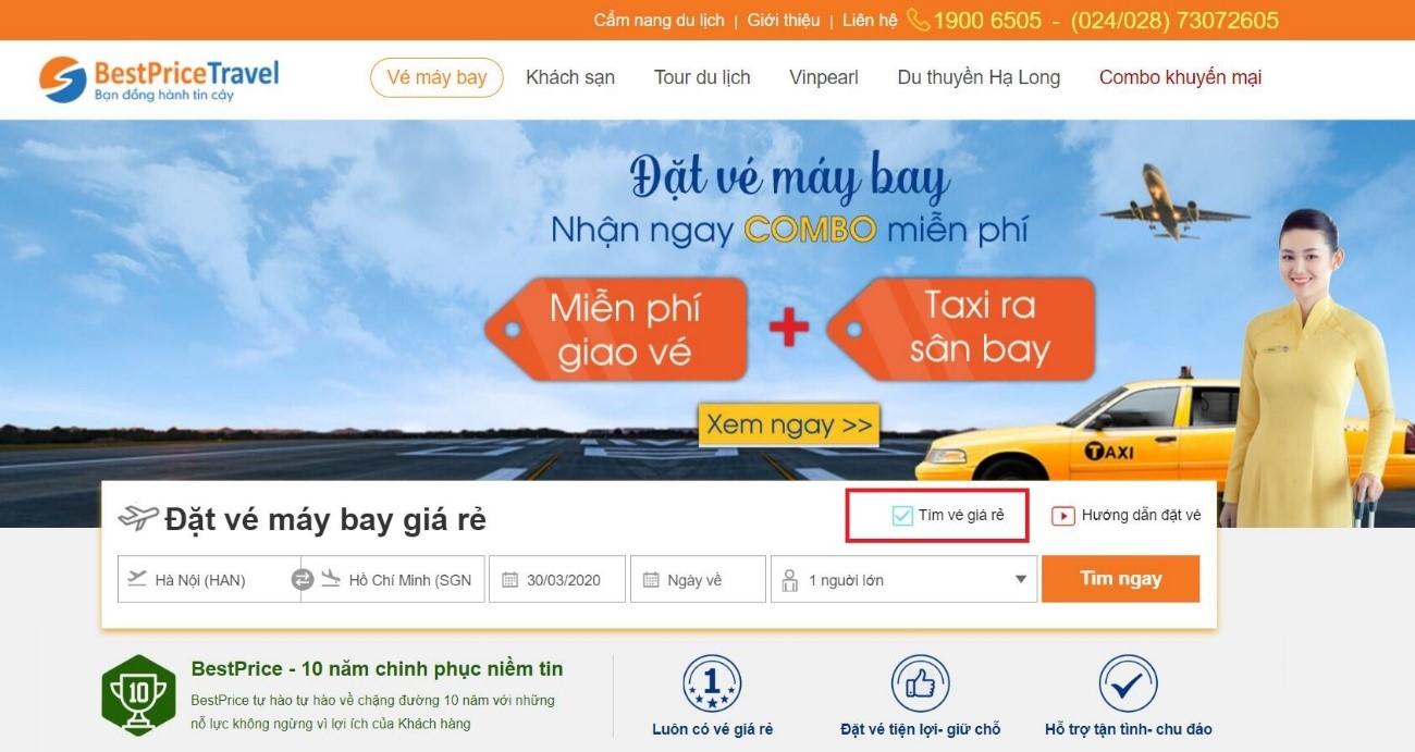 Săn vé máy bay giá rẻ theo tháng của bestprice.vn