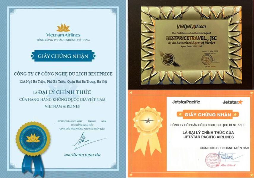 BestPrice nhận cúp và bằng khen từ hãng hàng không và đơn vị du lịch