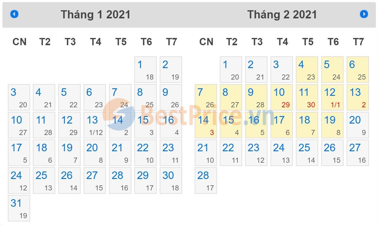 Lịch nghỉ Tết năm 2021