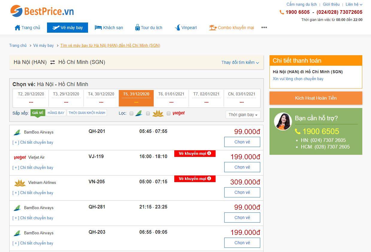 Đặt vé máy bay khuyến mãi giá rẻ trực tuyến tại bestprice.vn