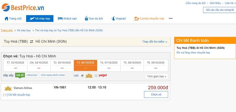 Vé máy bay đi Tuy Hòa - Sài Gòn Vietnam Airlines