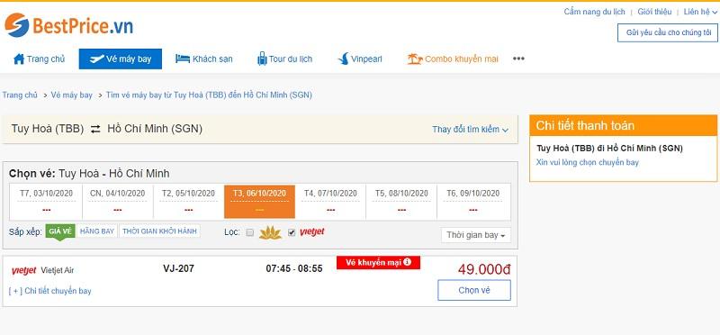Vé máy bay đi Tuy Hòa - Sài Gòn Vietjet Air