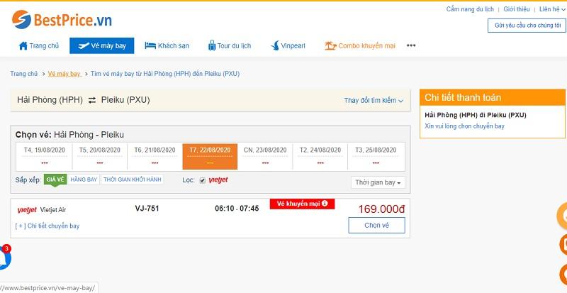 Vé máy bay đi Hải Phòng - Pleiku Vietjet Air