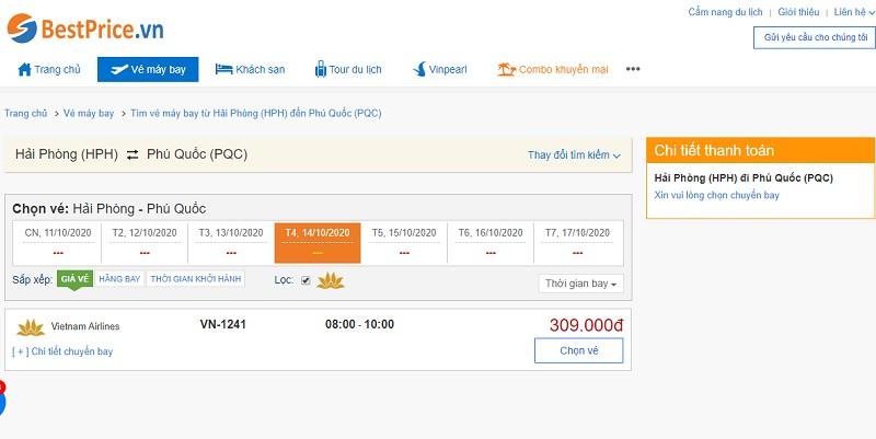 Vé máy bay Hải Phòng - Phú Quốc Vietnam Airlines